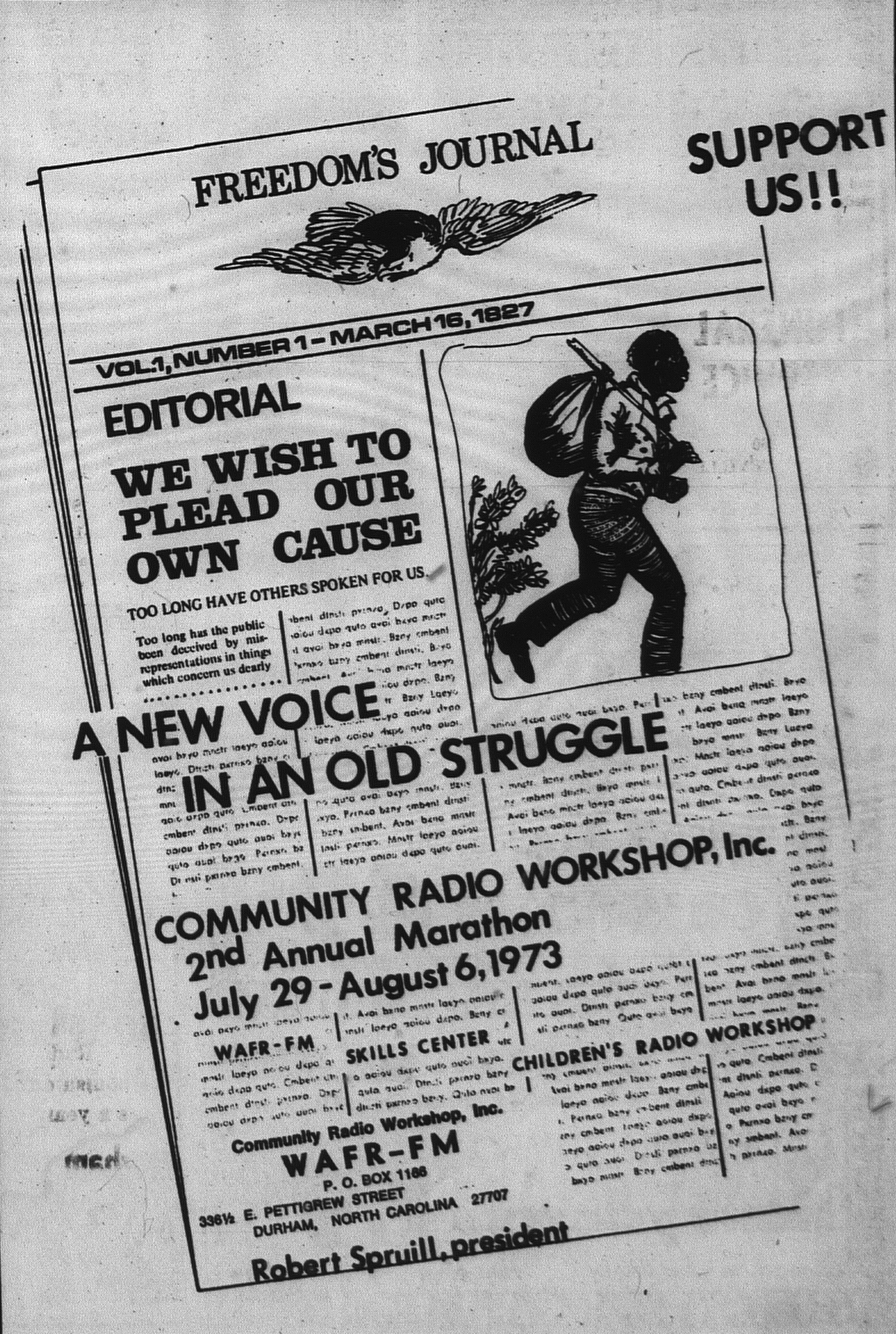 An ad for a WAFR fundraising marathon connects the station to Freedom's Journal, the first African American newspaper