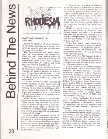 A WVSP Dialogue story on Rhodesia from 1978, provided by Africa News Service, on U.S. corporations that potentially violated a trade embargo with Rhodesia.